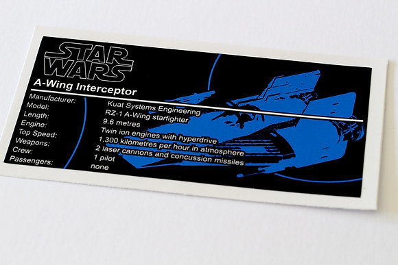 Lego Star Wars UCS / MOC Sticker for A-Wing (75003 / 75247 / 75275 / Anio ST17)