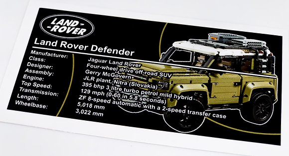 Lego Technic UCS / MOC Sticker for Land Rover Defender 42110