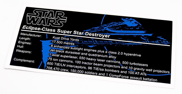 Lego Star Wars UCS / MOC Sticker for Eclipse Class Star Destroyer