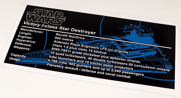 Lego Star Wars UCS / MOC Sticker for Victory Class Star Destroyer