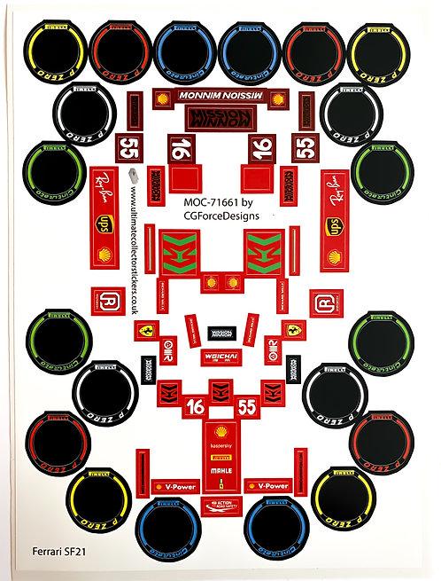 Lego Sticker Sheet for F1 Ferrari SF21 by LegoCG (MOC-71661)