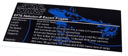 Lego Star Wars UCS / MOC Sticker for Nebulon-B Escort Frigate + Instructions