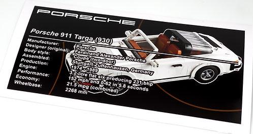 Lego Creator UCS Sticker for Porsche 911 Targa 10295