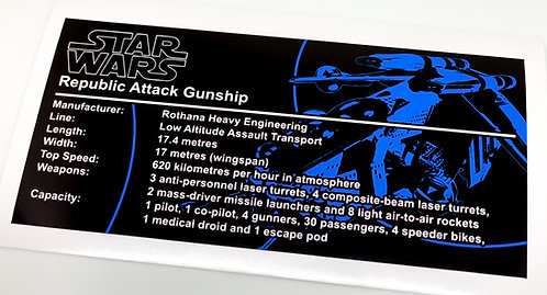 Lego Star Wars UCS Sticker for Republic Gunship 75309