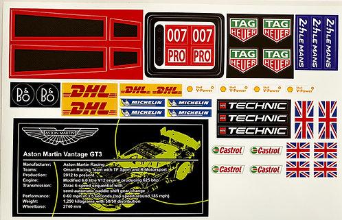 Lego Technic MOC Sticker for Aston Martin Vantage GT3 (Sheet 1)