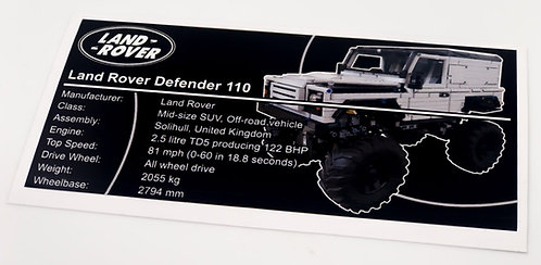Lego Technic MOC Sticker for Land Rover Defender (grey)