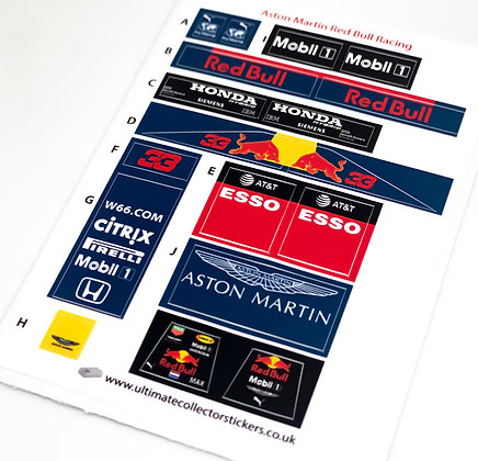 Lego Sticker Sheet for Speed Champions Aston Martin Red Bull Racing F1 Team