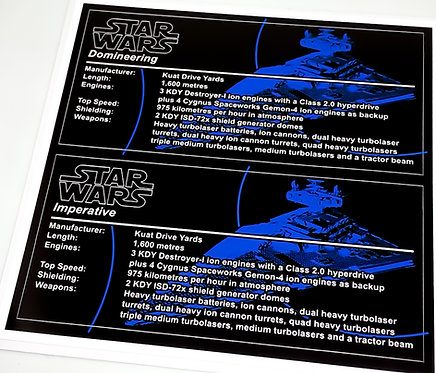 Star Wars UCS Sticker for Imperial Star Destroyer, Domineering, Imperative 75252