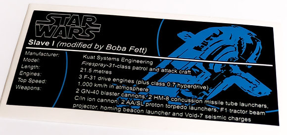 Lego Star Wars UCS Sticker for Boba Fett's Slave I (6209 / 8097 / 75060 / 75243)