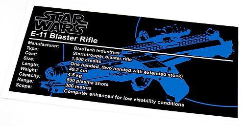 Lego Star Wars UCS / MOC Sticker for E-11 (E11) Blaster + Instructions