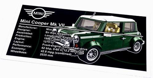 Lego Creator UCS Sticker for Mini Cooper 10242