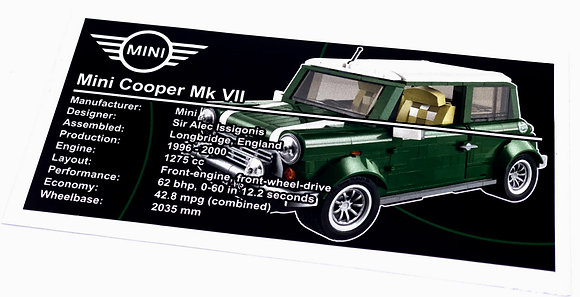 Lego Creator UCS Sticker for Mini Cooper 10242