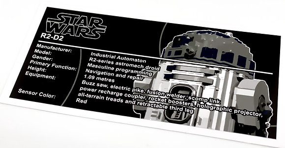 Lego Star Wars UCS Sticker for R2-D2 10225 (colour)