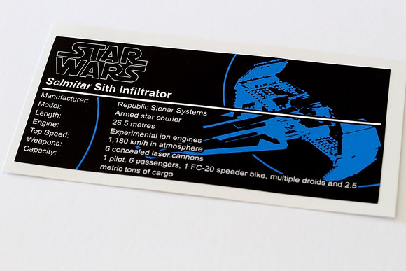 Lego Star Wars UCS / MOC Sticker for Sith Infiltrator 7663 / 7961 / ST19
