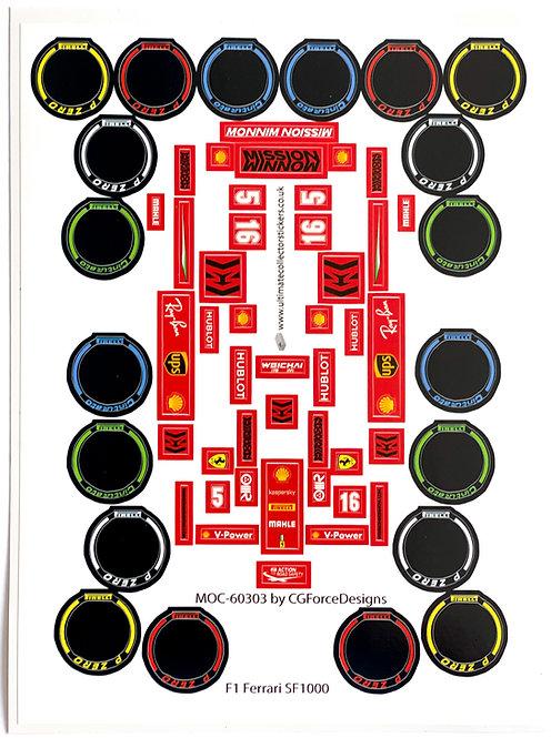 Lego Sticker Sheet for F1 Ferrari SF1000 by LegoCG (MOC-60303)