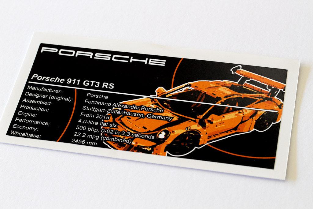 Lego Technic Ucs Moc Sticker For Porsche 911 Gt3 Rs 42056