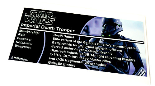 Lego Star Wars Buildable Figure Sticker for Imperial Death Trooper (75121)