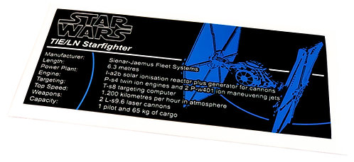 Lego Star Wars UCS / MOC Sticker for TIE Fighter (75095 / 75211 / 9492 / 7263)