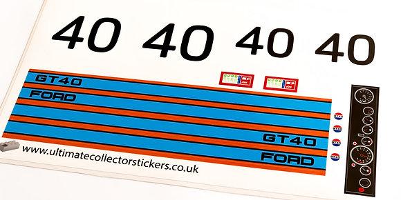 Lego Technic UCS / MOC Sticker for Ford GT40 (MOC-33807) - Orange & Blue