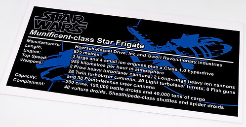 Lego Star Wars UCS / MOC Sticker for Munificent-class star frigate + Instruction
