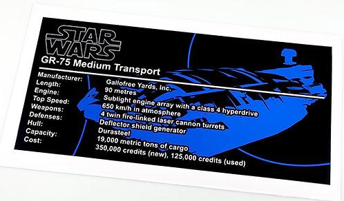 Lego Star Wars UCS / MOC Sticker for GR-75 Rebel Transport + Instructions