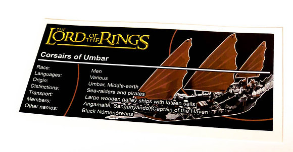 Lego The Lord of The Rings UCS Sticker for Pirate Ship Ambush 79008