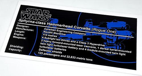 Lego Star Wars MOC Sticker for Hammerhead Corvette Lightmaker (MOC-57343)