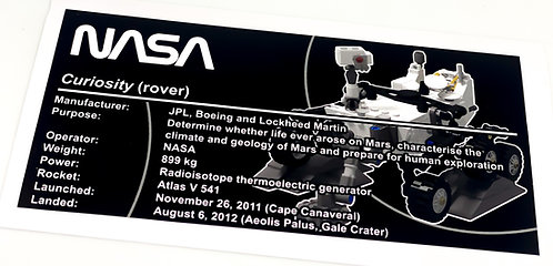 Lego Creator UCS Sticker for NASA Mars Curiosity Rover 21104