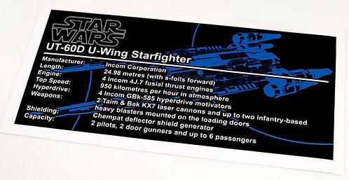 Lego Star Wars UCS / MOC Sticker for UT-60D U-Wing (SB00101 / 75155)