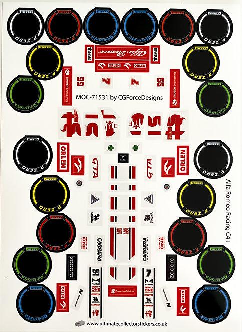Lego Sticker Sheet for F1 Alfa Romeo Racing C41 by LegoCG (MOC-71531)