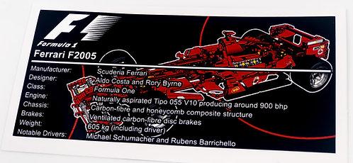 Lego Technic UCS Sticker for Ferrari F1 Racer 8674