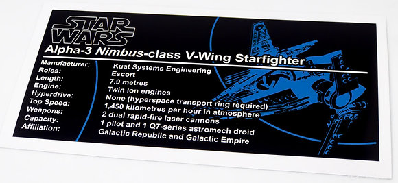 Lego Star Wars UCS / MOC Sticker for V-Wing Starfighter (Brick Vault)