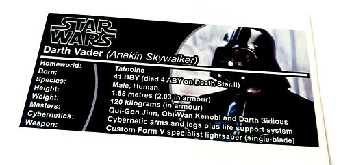 Lego Star Wars Buildable Figure Sticker for Darth Vader 75111