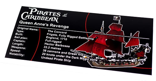 Lego Pirates of the Caribbean UCS Sticker for Queen Anne's Revenge 4195