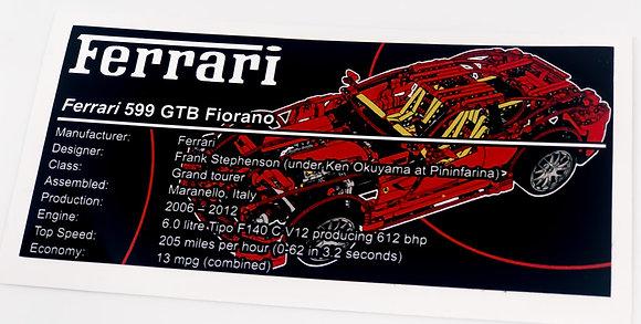 Lego Technic UCS Sticker for Ferrari 599 GTB Fiorano 8145