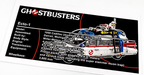 Lego Creator UCS Sticker for Ghostbusters Ecto-1 10274 (Colour)
