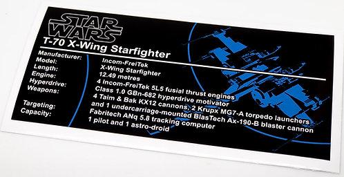 Lego Star Wars UCS Sticker for T70 X-Wing (75102 / 75149 / 75273)