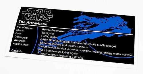 Lego Star Wars UCS Sticker for The Arrowhead 75186