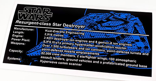 Lego Star Wars UCS / MOC Sticker for First Order Star Destroyer 75190