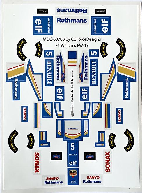 Lego Sticker Sheet for F1 Williams FW-18 by LegoCG (MOC-60780)