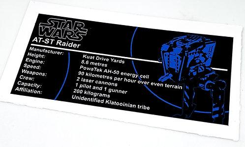 Lego Star Wars UCS / MOC Sticker for AT-ST Raider (75254)