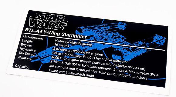 Lego Star Wars UCS Sticker for Y-Wing 75181
