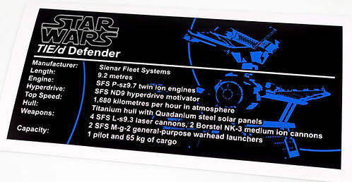 Lego Star Wars UCS / MOC Sticker for TIE Defender 8087