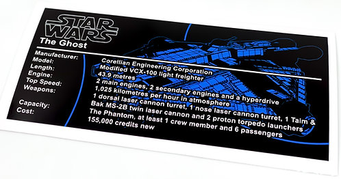 Lego Star Wars UCS / MOC Sticker for The Ghost + Instructions