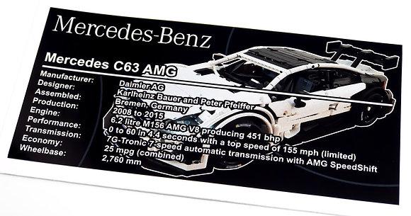 Lego Technic UCS / MOC Sticker for Mercedes-Benz AMG C63 (MOC-6687)
