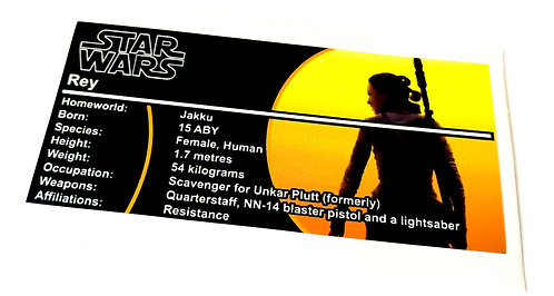 Lego Star Wars Buildable Figure Sticker for Rey 75113