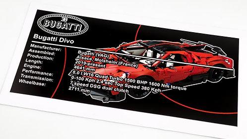 Lego Technic UCS Sticker for Bugatti Divo (MOC-33457) - Red
