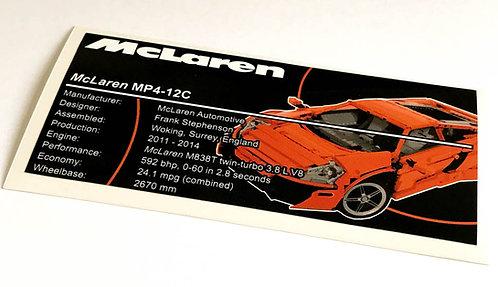 Lego Technic MOC Sticker for McLaren MP4-12C + Instructions