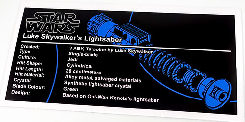Lego Star Wars UCS Sticker for Luke Skywalker Return Of The Jedi Lightsaber