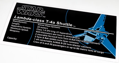 Lego Star Wars UCS Sticker for Imperial Shuttle 10212
